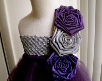 plum silver flower girl tutu dress