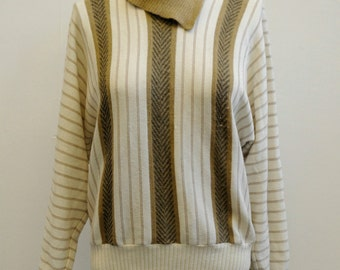 Early 80s Vintage Dark Beige & Cream Stripy Knit Jumper size M