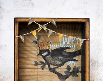 Happy Sunshiny Day - Decorative Shadow Box with Bird and Banner Bunting