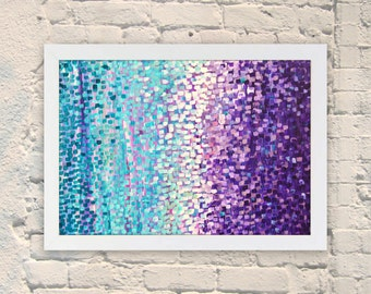 Giclee Print - Winter Garden  - Giclee Print of Abstract Acrylic Painting on Canvas - Turquoise and Purple by Louise Mead