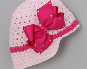 Newsgirl Beanie with Changeable Hot Pink Bling Bow