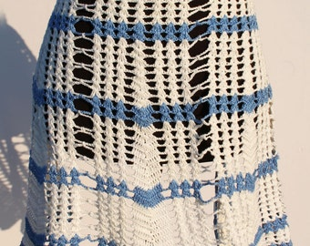 Vintage Apron Crocheted Blue White Striped Crochet Waist Apron