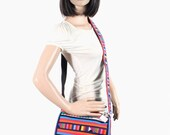 Messanger Bag Lisu Fabric Colorful Stripes Handmade Hill Tribes Bag Fair Trade (BG274-MU)
