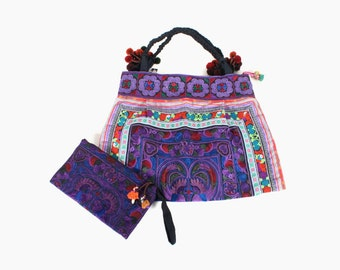 Purple Tote Bag Set with Wristlet Clutch Purse HMONG Embroidered Fabric Handmade  Hill Tribe Thailand  (BG121SET2-PUB)