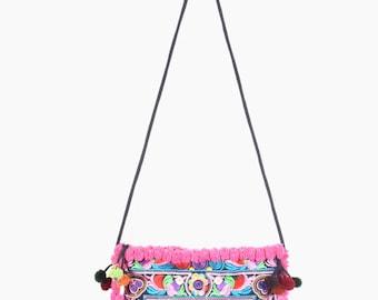 Cross Body Bag Pink Pom-Pom Purse Handmade Hmong Embroidered Fabric Thailand (BG811P-MUB8)