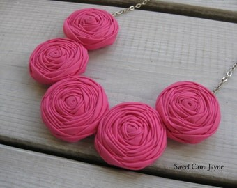Pink Rosette Necklace Hot Pink Bib Necklace Fabric Jewelry Wearable Art Statement Necklace