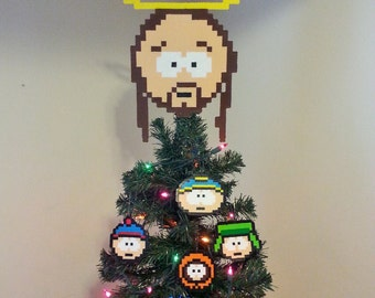 South Park Jesus Perler Bead Christmas Tree Topper and Ornament Set (5 piece)