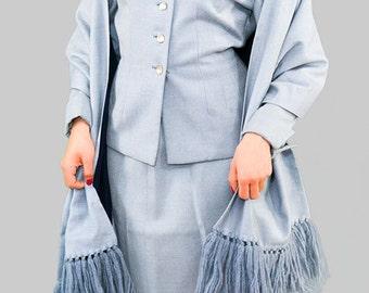 Vintage 1940s Skirt Suit / 40s Three Piece Suit / 1940s Robins Egg Wool Suit / Vintage Wool Suit