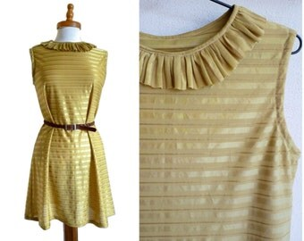 Gold Shift Dress - 60s, cocktail dress, stripes, ruffle collar, neckline detail, small - medium