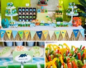 DINOSAUR Party Printable Set for Birthday Party - Cupcake Toppers, Bottle Labels, Favor Tags and more