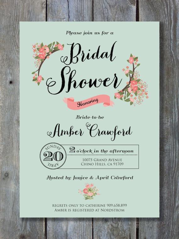 Bridal shower invitation chalkboard floral style for Bridal shower email invitations