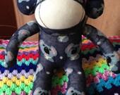 Ready To Ship Koala Print Sock Monkey, Blue, Handmade