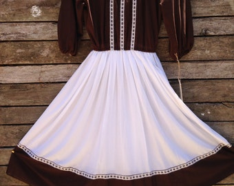 1970's ' Hermin Marcus' Brown and White Prairie Style Dress