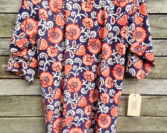 1960's Beautiful Handmade Blue and Red Floral Smock Blouse