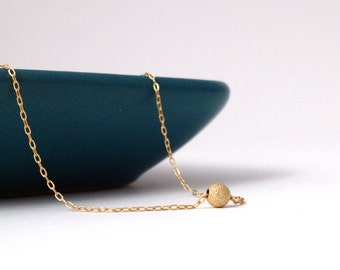 14k STARDUST dot necklace >> threaded onto super fine 14k chain << proceeds donated to Humane Society