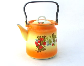 Vintage enamel Kettle - Water ware -yellow / orange shaded -  made in 70s
