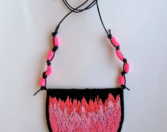 Ombre pink embroidered necklace on black leather cord with neon pink flat rubber accent beads