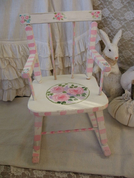 Chair, Childrens Pink Painted Rocking Chair- Pink Roses Baby Girl ...