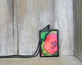 Soldered Flower Pendant, Unique Pendant, Glass Pendant
