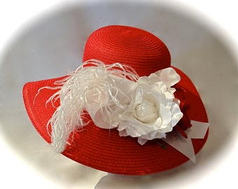 Women's Derby Hat Red & White High Fashion Mother of the Bride DH-123