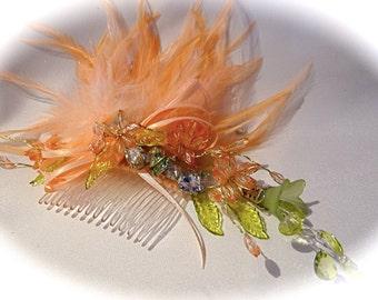 Crystal Feather Haircomb Elven Headdress Fairy Hairpiece F-107
