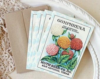 Bachelor Button Seedpack note cards Flowers Stationery