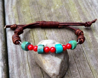 Turquoise and coral wired leather bracelet, knotted boho rustic jewelry