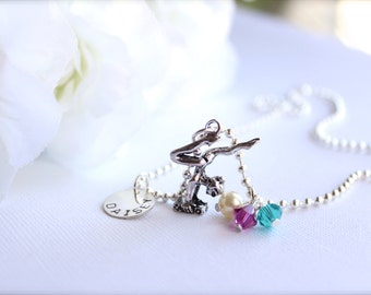 Personalized Sterling Silver Hand Stamped Charm, Gymnastics Name Necklace, Pink & Turquoise Girls Gymnast Charm Necklace FREE Gift Packaging