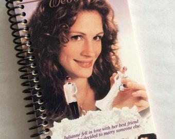 My Best Friend's WEDDING Notebook Journal upcycled spiral  VHS movie carton Wedding Guest Book