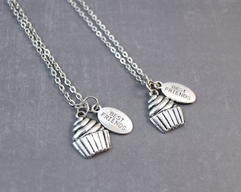 Silver Cupcake Necklace - Friendship Necklaces - Baker Necklace - Sweet Necklace - Food Jewelry - Best Friends Necklace - Cupcake Pendant