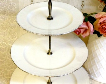 3 tier Alfred Meakin Cream & Gold Cake Stand