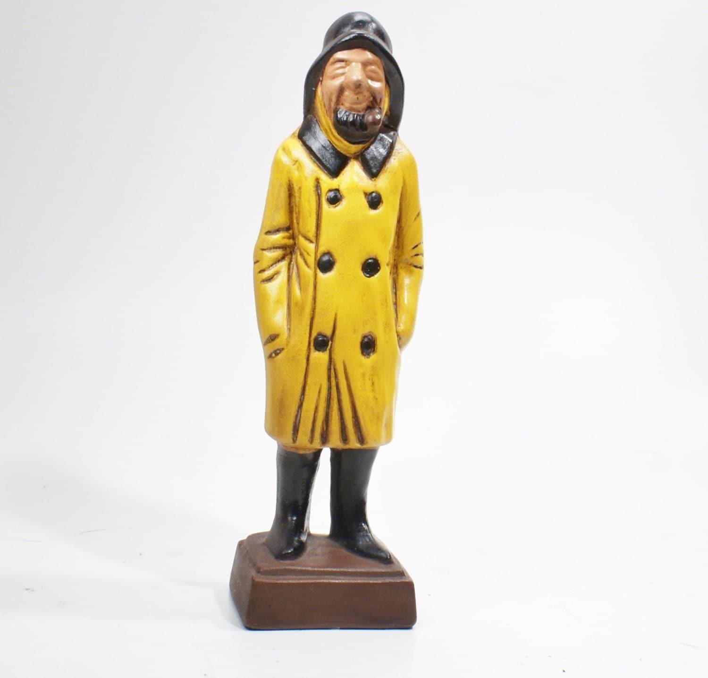Vintage Figurine Fisherman in a Yellow Raincoat Heavy