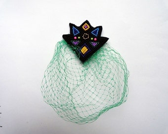 Beaded colorful black cosmic beanie pin with french style emerald green veil. Feminism. Nr7 winter - READY TO SHIP