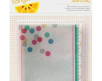 Amy Tangerine Cut & Paste bits Stitched Vellum Pockets -- MSRP 5.00