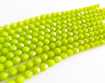 25 Pcs - Czech Glass Firepolish Beads - Charteuse 6mm