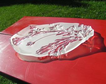 70s Asymmetrical Frosted Glass Platter Tray FERN Pattern Large