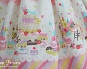 Trefle Sweet Cakes Factory Skirt with Macaroons, Cakes, Squirrels, Bunnies, Sweet Lolita, Kawaii