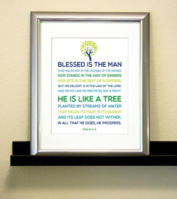 Tree Bible Verse Psalm 1:1-3 - Boy Nursery - Digital Art Printable