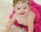 Pink and Ivory Floral Crown - Floral Halo Floral Boho Headband Newborn Photo Prop Shabby Chic