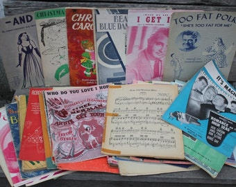 SALE*** - Vintage Sheet Music - Music Sheets - Antique Sheet Music - Annie Get Your Gun - Too Fat Polka - Large collection - Theatre pieces