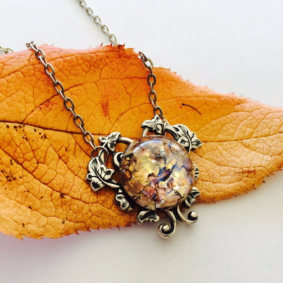 Dragon Breath Fire Opal necklace Heart Pendant necklace - - Bridesmaids gifts - VIctorian look