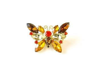 Vintage 60s earth tone rhinestone brown orange butterfly pin brooch