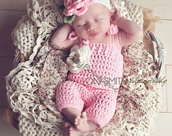 Instant Download PDF Crochet Pattern - No. 31 Baby Spring Flower Romper & Headband Set - 3 Sizes