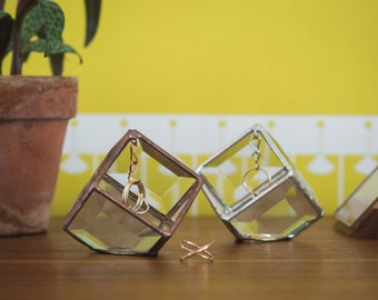 Prism Stained Glass Ring Holder - Glass Display Box - silver or copper - eco friendly - etching