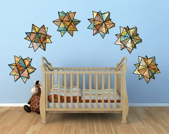 Geometric origami map stars- set of six-  united states maps-fabric wall decal