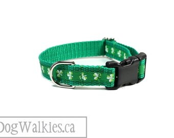 "Little Shamrock 's Dog Collar - 3/4"" (19mm) Wide - St. Patrick 's Day - Martingale or Quick Side Release - Choice of collar style and size"