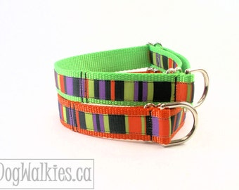 "Ghoul Green or Pumpkin Orange - Halloween Stripe Dog Collar - 1"" (25mm) Wide - Choice of color, style and size - Martingale or Quick Release"