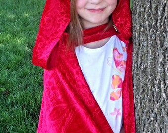 """LIMITED Fancy Embossed Velvet Santa / Red Riding Hood / Red Queen / Once Upon a Time inspired Cape Cloak Princess Ruby Royal Wizard Elf 27"""""""