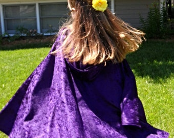 "Purple Fancy Hooded Cape Cloak 27"" Merida Frozen Raven Prince Charming Princess Fairy Magician Hobbit Witch Wizard Cosplay Once Upon a Time"