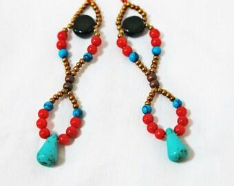 Infinity Coral Turquoise Bohemian Earrings, Boho Earrings, Coral Earrings, Turquoise Earrings, Coral Turquoise Earrings, Long Earrings